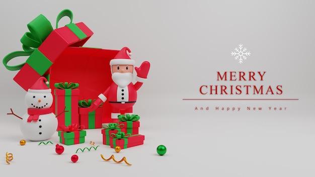 Fondo de concepto de feliz navidad de ilustración 3d con santa claus, caja de regalo