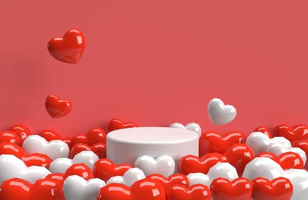 Fondo de corazón de san valentín 3d con escenario de producto de corazón rojo y blanco