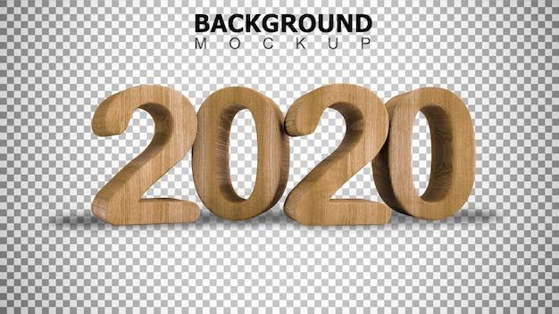 Fondo del modello per 3d che rende testo di legno 2020 su fondo bianco