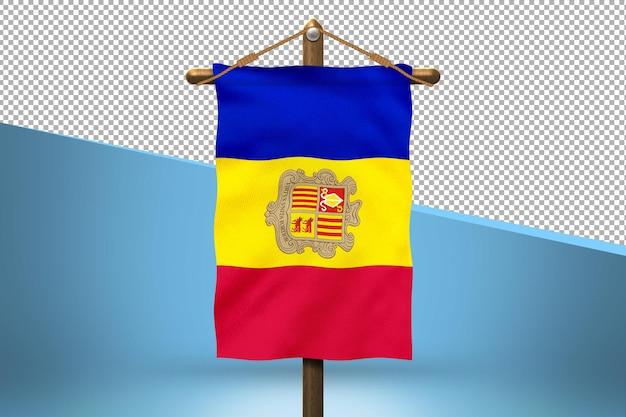 Fondo de diseño de bandera colgante de andorra