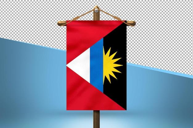 Fondo de diseño de bandera colgante de antigua y barbuda