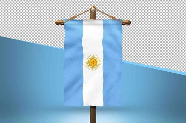 Fondo de diseño de bandera colgante de argentina