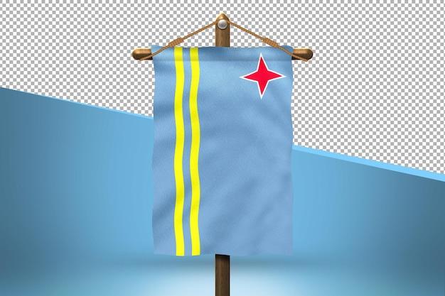 Fondo de diseño de bandera colgante de aruba