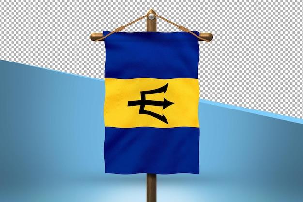 Fondo de diseño de bandera colgante de barbados
