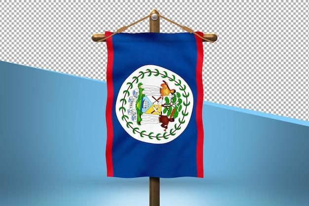 Fondo de diseño de bandera colgante de belice