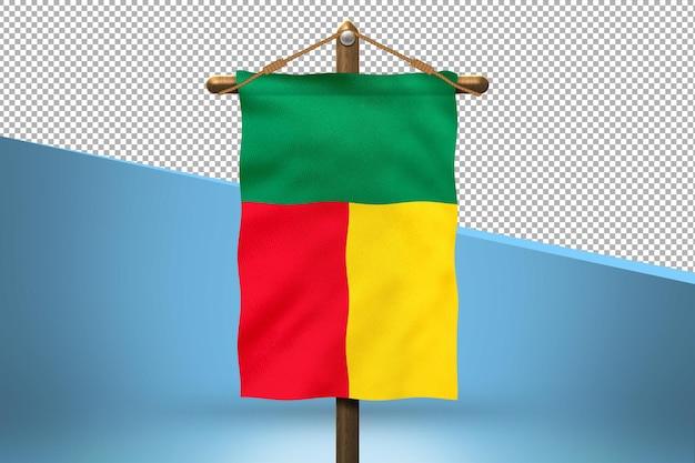Fondo de diseño de bandera colgante de benin