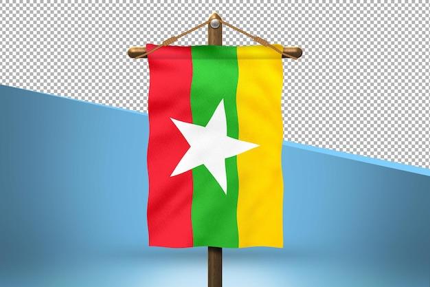 Fondo de diseño de bandera colgante de birmania