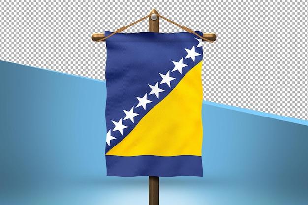 Fondo de diseño de bandera colgante de bosnia y herzegovina