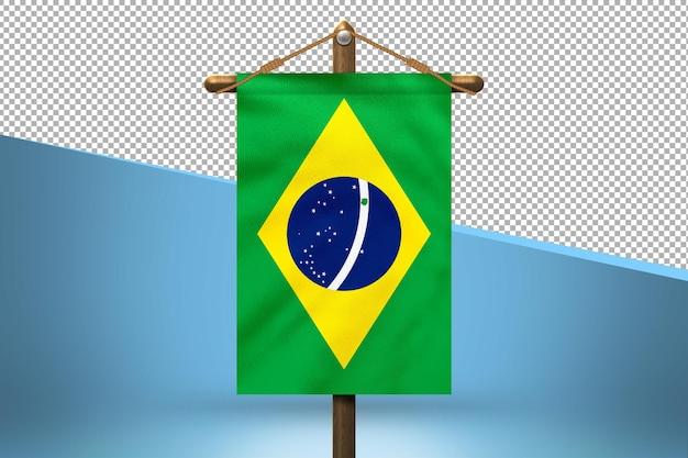 Fondo de diseño de bandera colgante de brasil