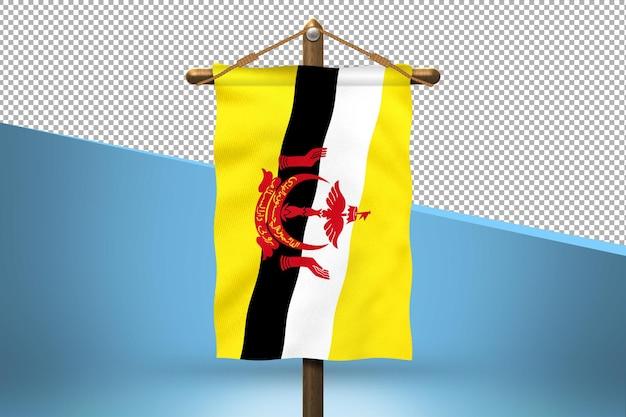 Fondo de diseño de bandera colgante de brunei