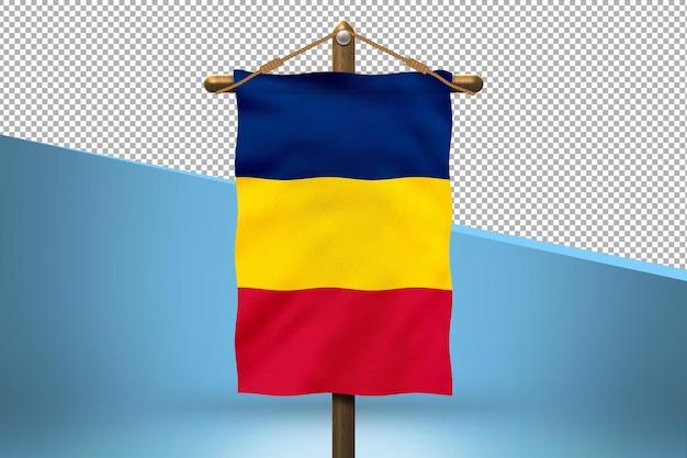Fondo de diseño de bandera colgante de chad