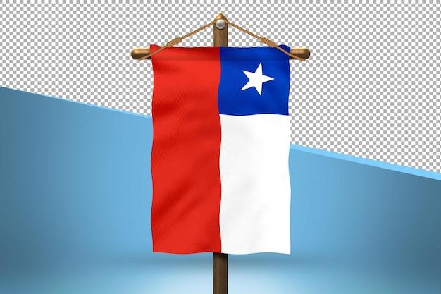 Fondo de diseño de bandera colgante de chile