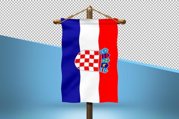 Fondo de diseño de bandera colgante de croacia