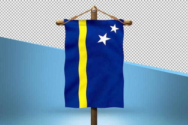 Fondo de diseño de bandera colgante de curazao