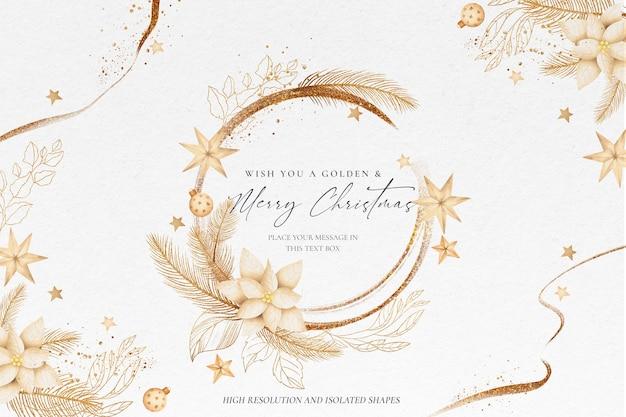 Fondo dorado de navidad con hermosos adornos