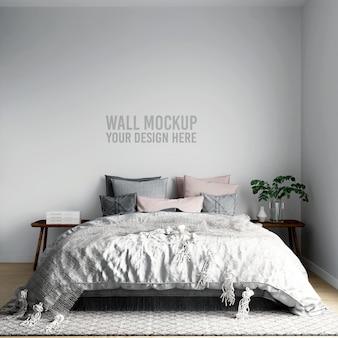 Fondo de dormitorio escandinavo interior de maqueta de pared