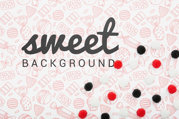 Fondo dulce con bayas negras y rojas