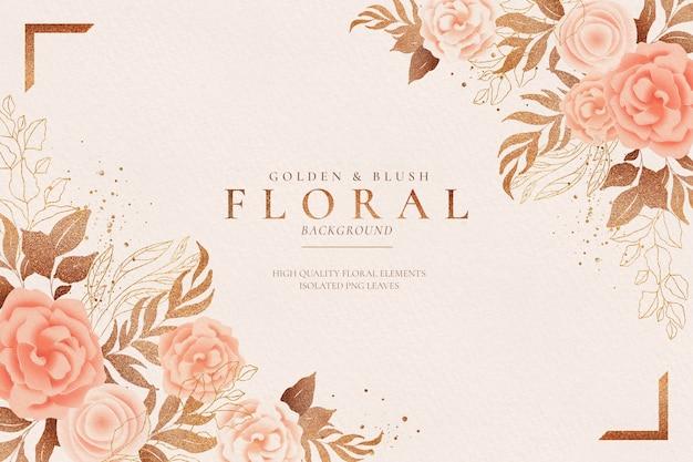 Fondo floral dorado y rubor