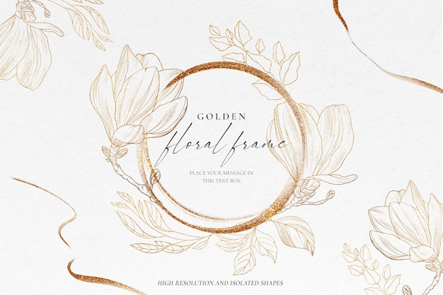 Fondo floral con naturaleza dorada