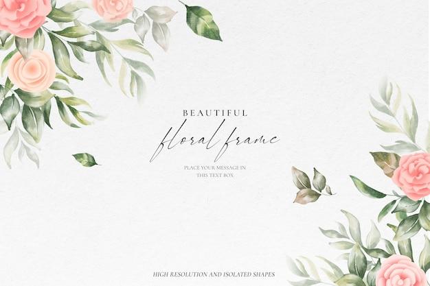 Fondo hermoso marco floral con naturaleza suave