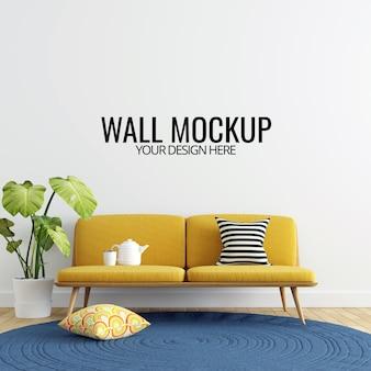 Fondo interior moderno de la maqueta de la pared de la sala de estar