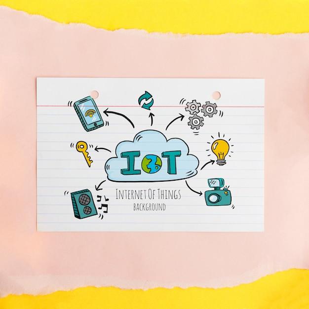 Fondo de internet de las cosas con dispositivos digitales