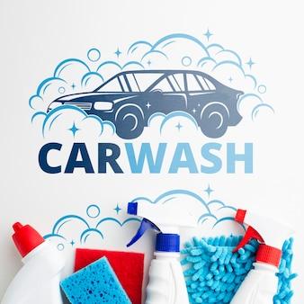 Fondo de lavado de autos con herramientas de limpieza