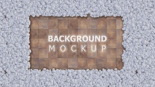 Fondo de maqueta y espacio de copia en azulejo con jardín de rocas de color blanco