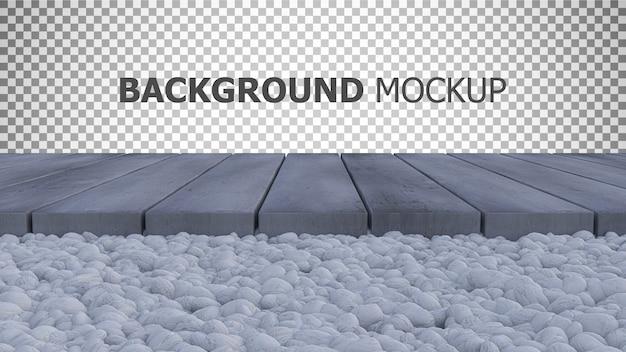 Fondo de maqueta para jardín de rocas de color blanco