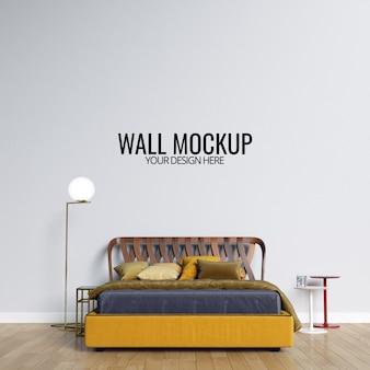 Fondo de maqueta de pared de dormitorio interior