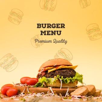 Fondo de menú de hamburguesa de carne sabrosa