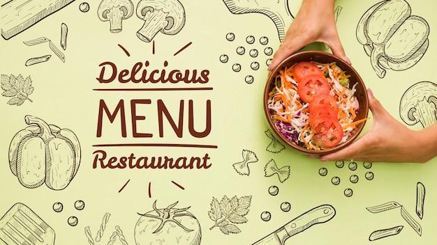 Fondo del menú del restaurante con ensalada sabrosa