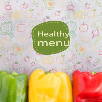 Fondo de menú saludable con pimientos