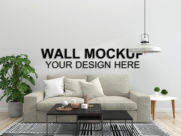 Fondo de muebles de piso de sala de estar interior casa maqueta, espacio de copia de diseño minimalista plantilla psd