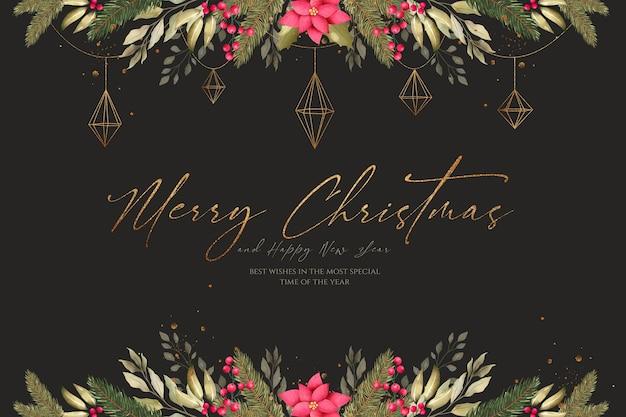 Fondo de navidad en acuarela con hermosa decoración