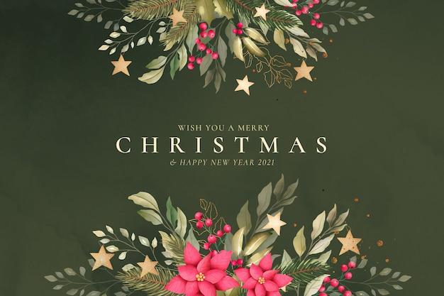 Fondo de navidad acuarela con naturaleza hermosa