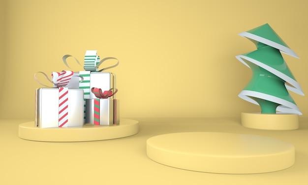 Fondo de navidad amarillo con árbol de navidad y escenario para exhibición de productos