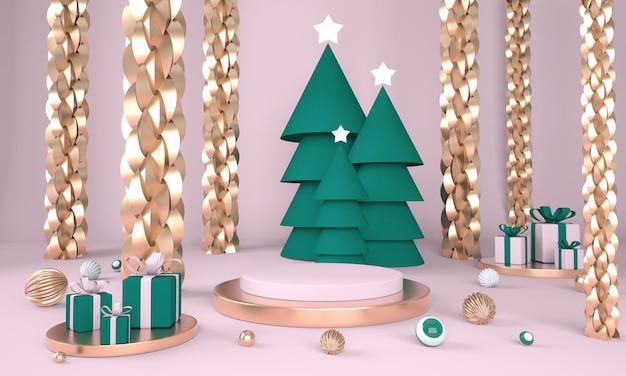 Fondo de navidad con árbol de navidad y escenario para exhibición de productos en renderizado 3d