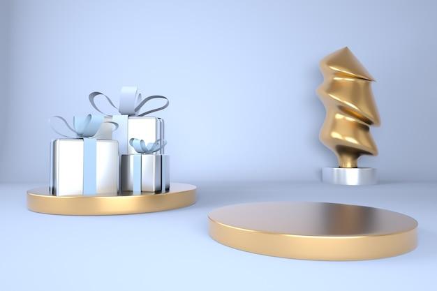 Fondo de navidad con árbol de navidad y escenario para exhibición de productos en representación 3d