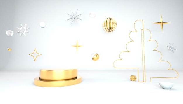 Fondo de navidad con árbol de navidad y escenario para exhibición de productos. representación 3d.