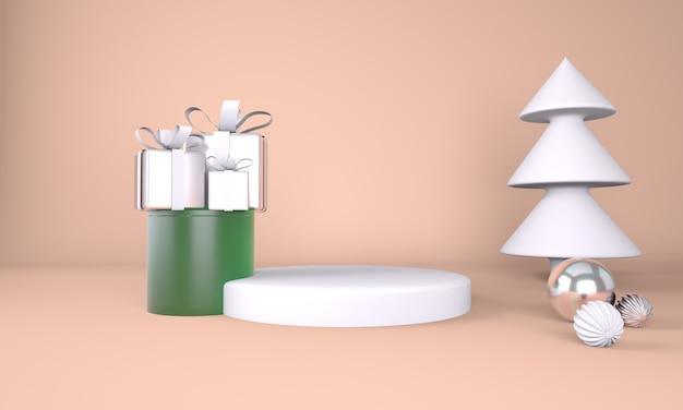 Fondo de navidad con árbol de navidad y escenario para exhibición de productos