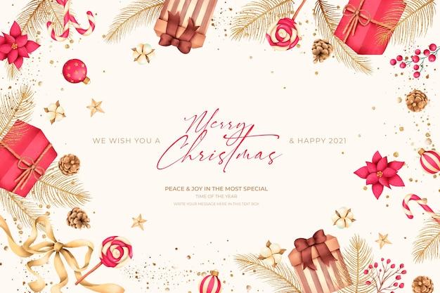 Fondo de navidad con regalos y adornos.
