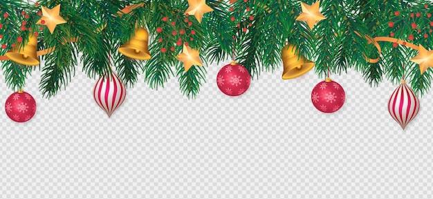 Fondo de navidad transparente con adornos rojos realistas