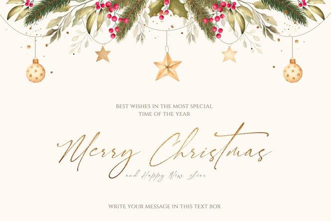 Fondo navideño con adornos de acuarela y naturaleza.