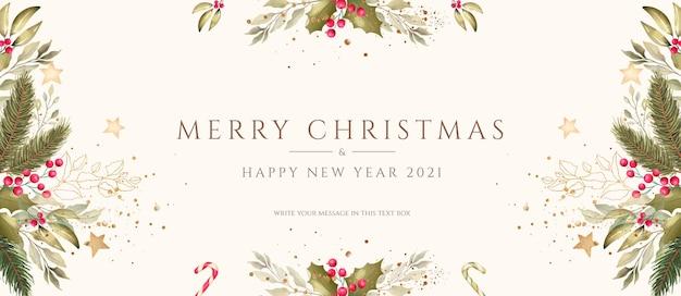 Fondo navideño mínimo con decoración de acuarela