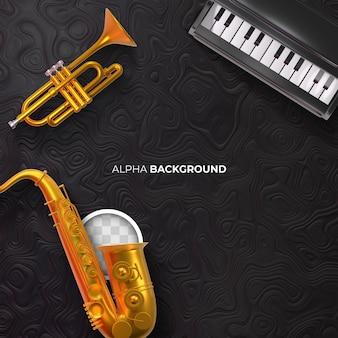 Fondo negro de la música jazz y sus instrumentos. representación 3d