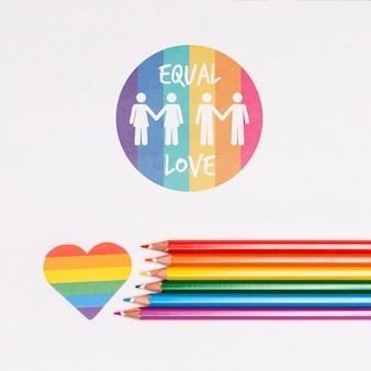 Fondo del orgullo gay con lápices de colores