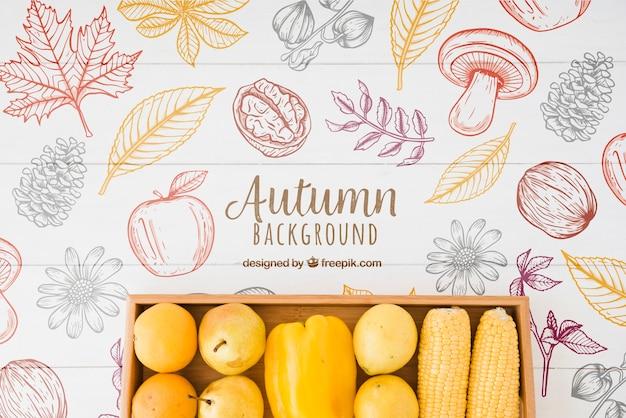 Fondo de otoño de estilo dibujado a mano
