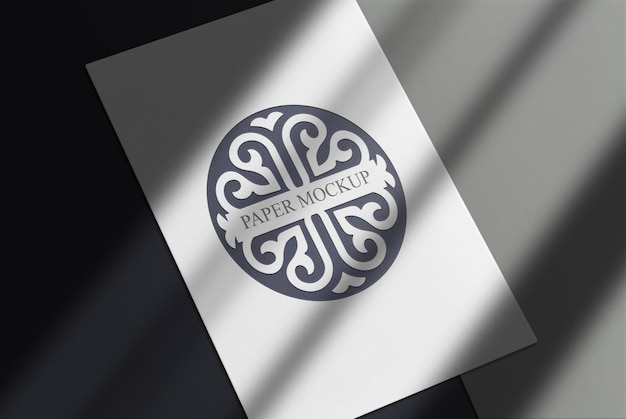 Fondo de papel blanco de maqueta de logotipo negro de lujo