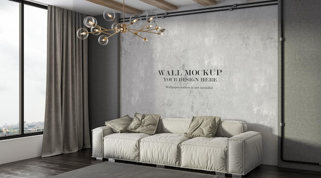 Fondo de pared detrás de un cómodo sofá